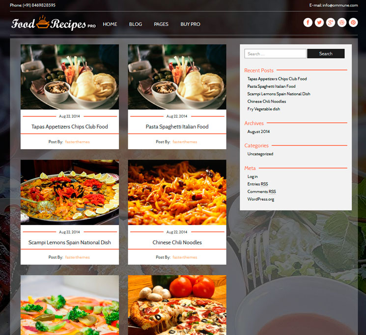 Food Recipes WordPress шаблон