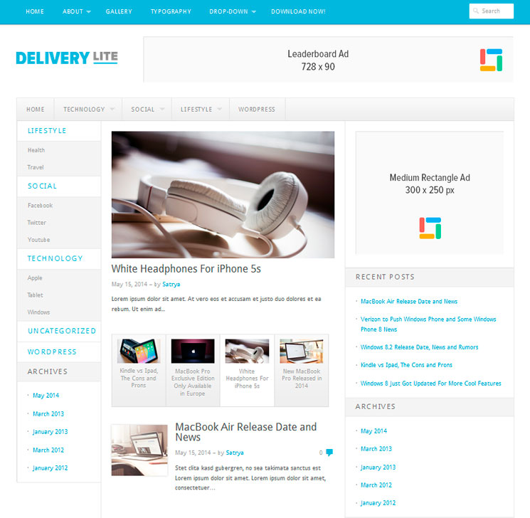 Delivery Lite WordPress шаблон