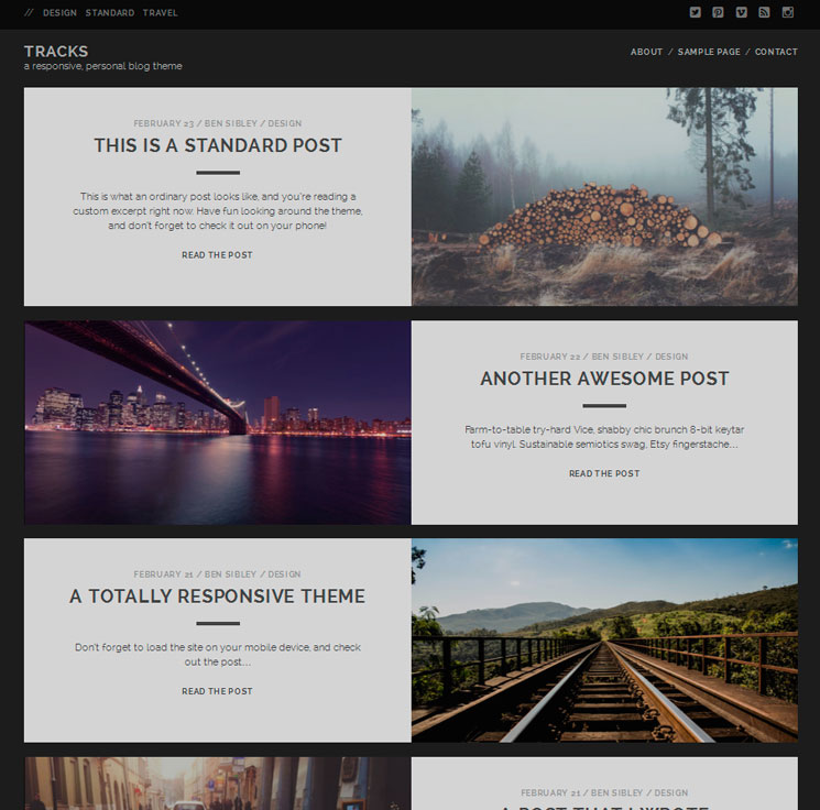 Tracks WordPress шаблон