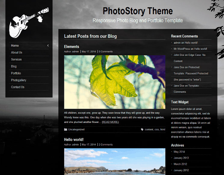 PhotoStory WordPress шаблон