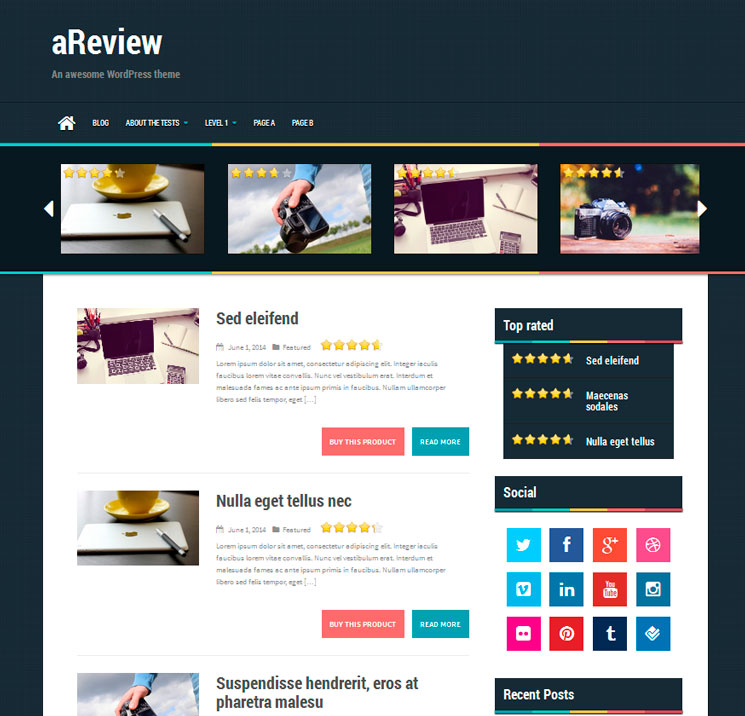 aReview WordPress шаблон