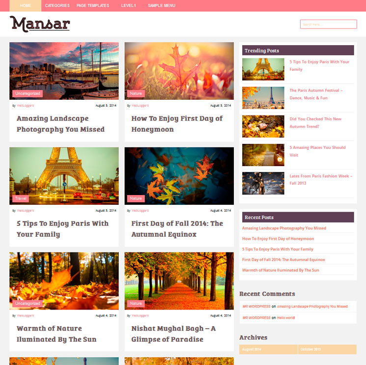 Mansar WordPress шаблон