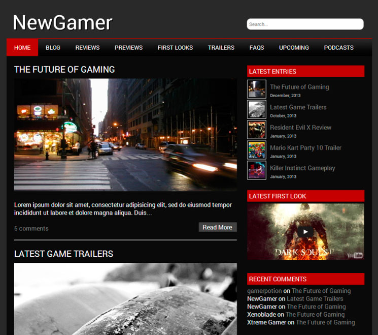 NewGamer WordPress шаблон