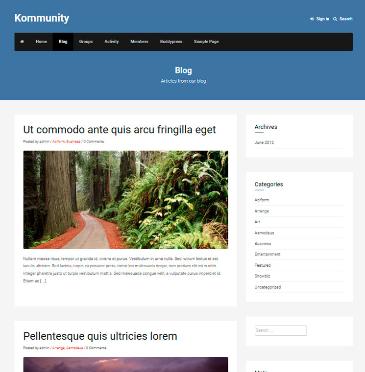 Kommunity WordPress шаблон