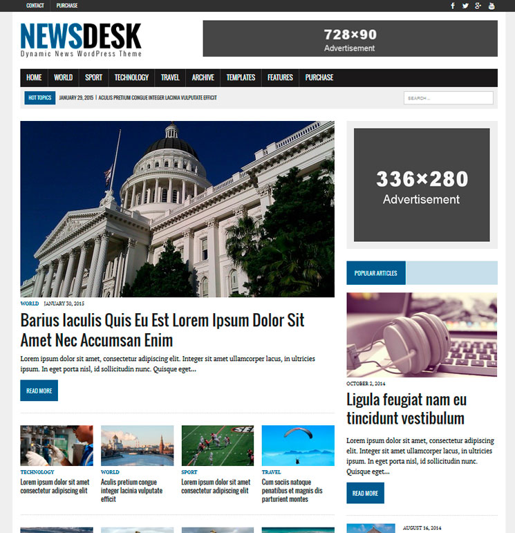 MH Newsdesk lite WordPress шаблон
