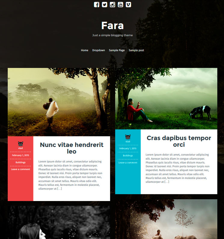 Fara WordPress шаблон