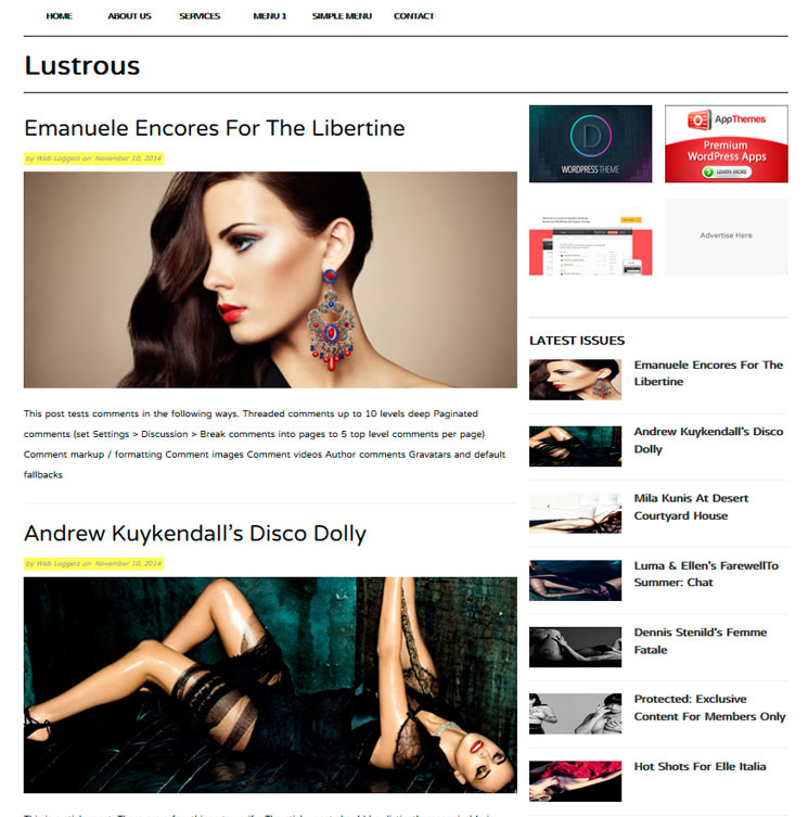 Lustrous WordPress шаблон