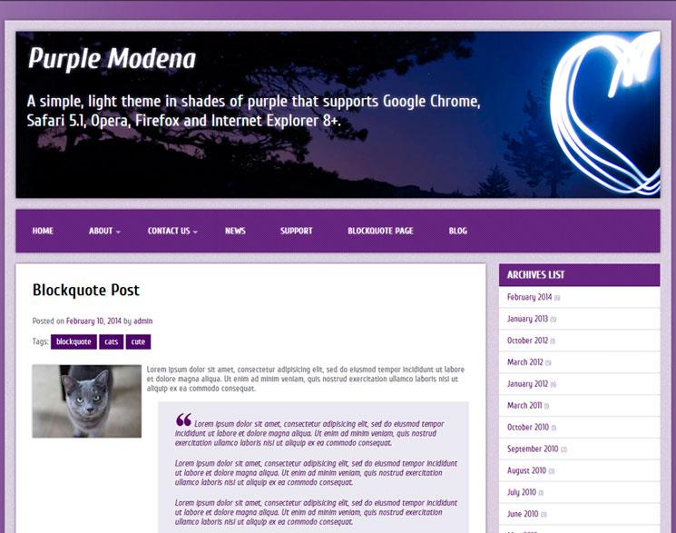 Purple Modena WordPress шаблон