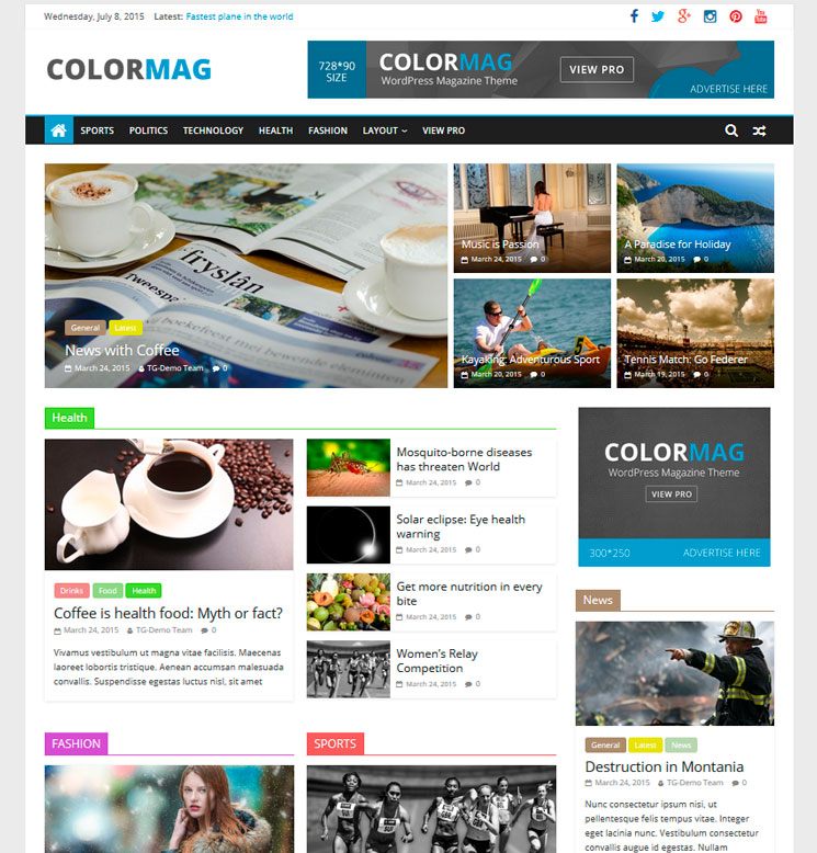 ColorMag WordPress шаблон