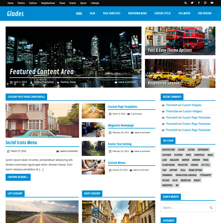 Glades WordPress шаблон