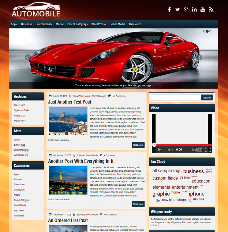 Automobile WordPress шаблон
