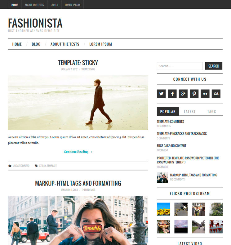 Fashionistas WordPress шаблон