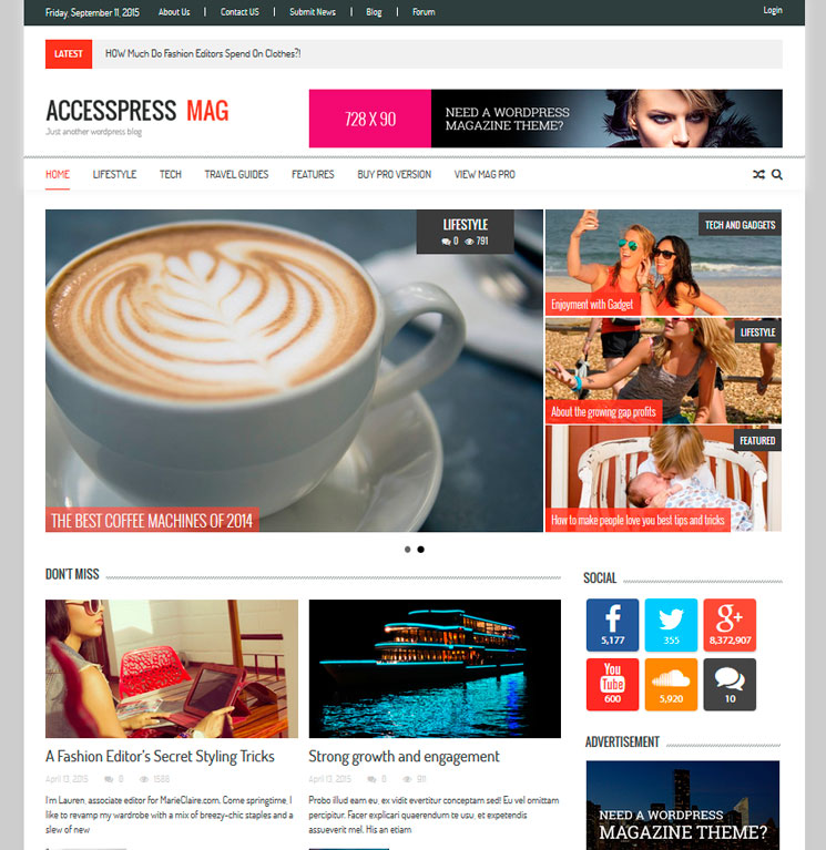 AccessPress Mag WordPress шаблон