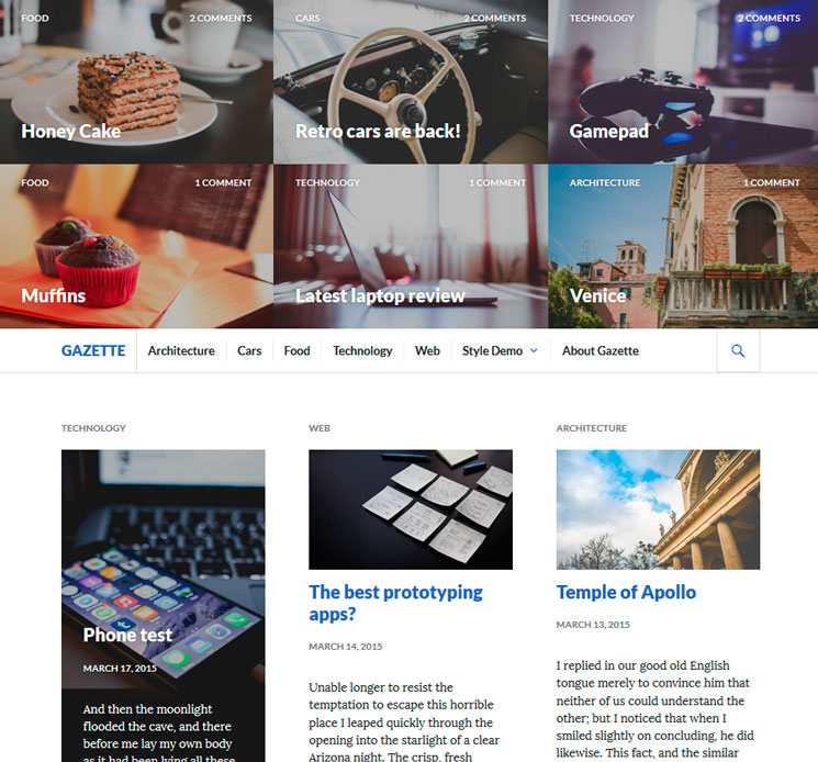 Gazette WordPress шаблон