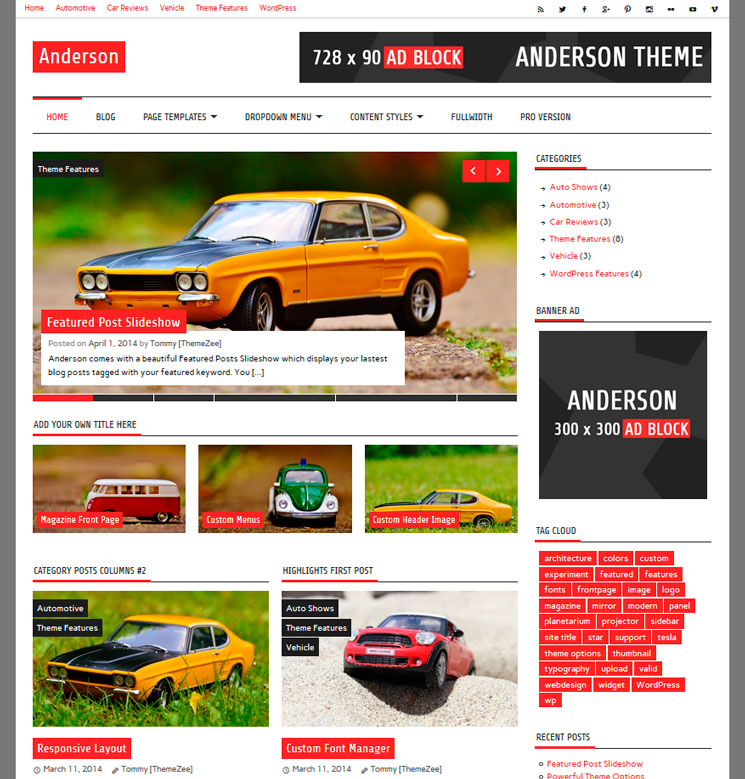 Anderson Lite WordPress шаблон