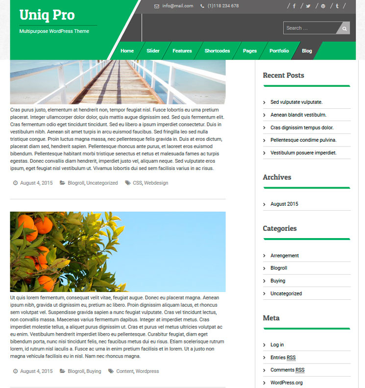 Uniq WordPress шаблон