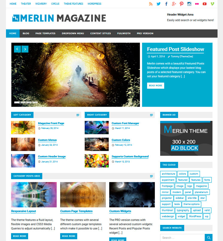 Merlin WordPress шаблон