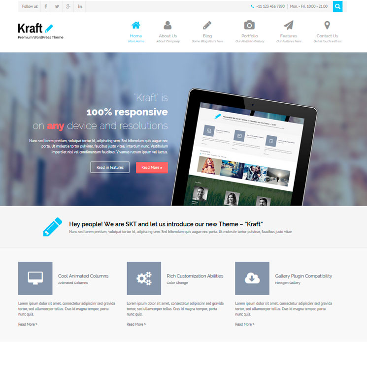 Kraft Lite WordPress шаблон