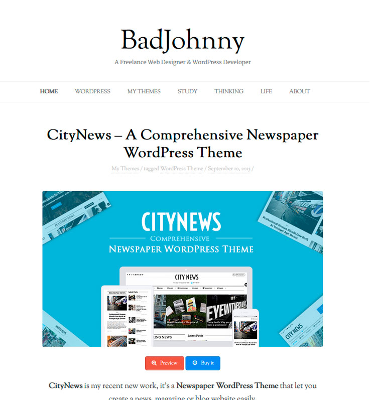 BadJohnny WordPress шаблон