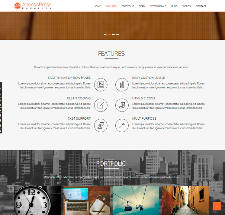 AccessPress Parallax WordPress шаблон
