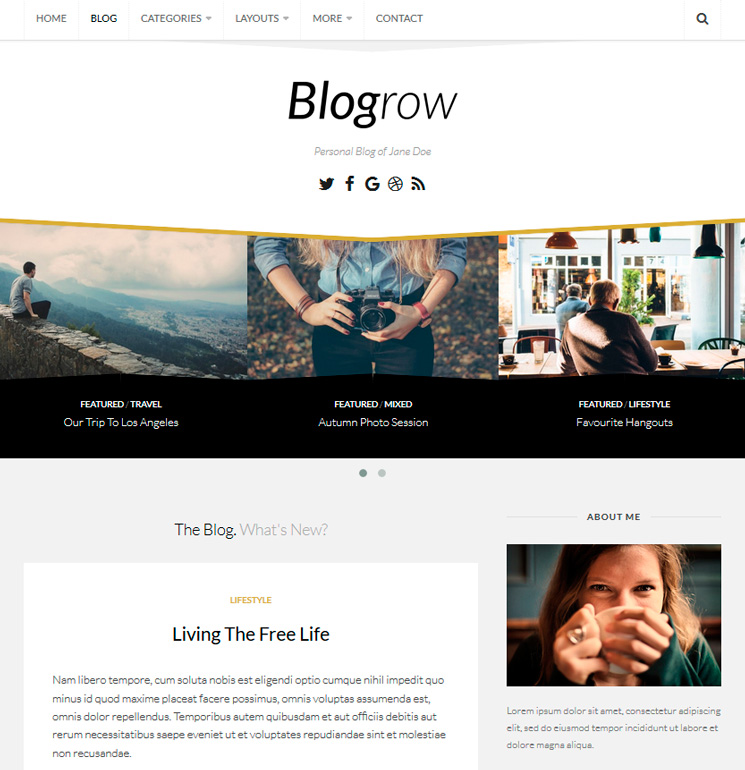 Blogrow WordPress шаблон