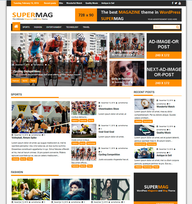 SuperMag WordPress шаблон