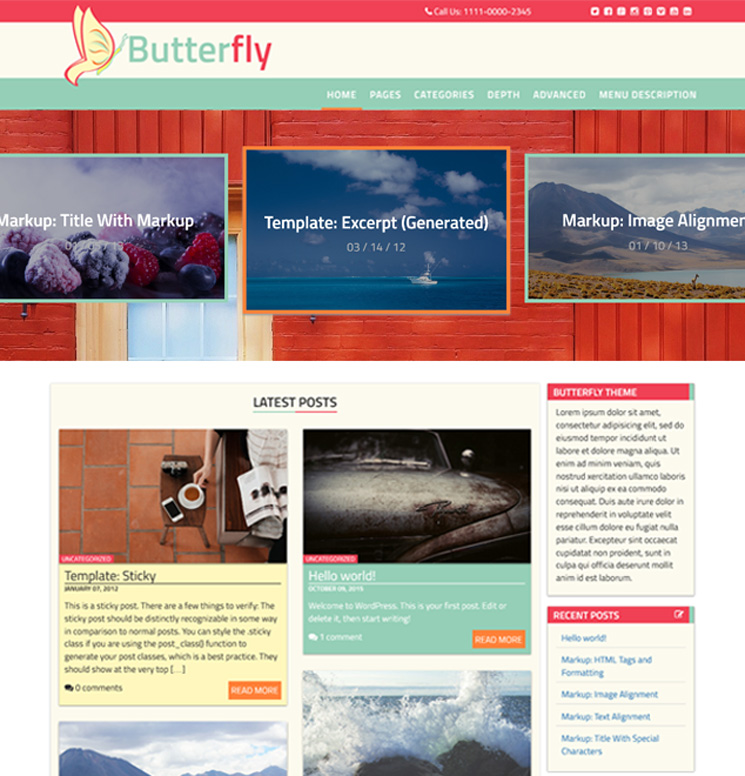 Butterfly Abode WordPress шаблон