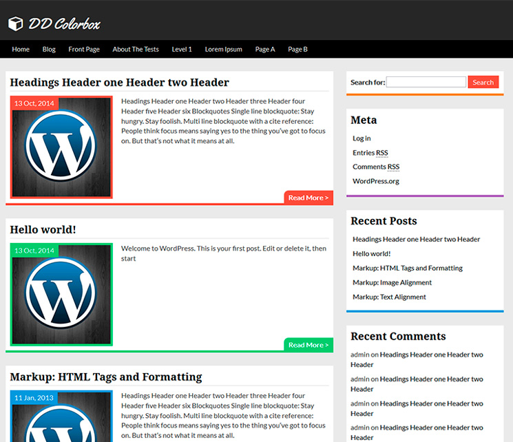 Colorbox WordPress шаблон