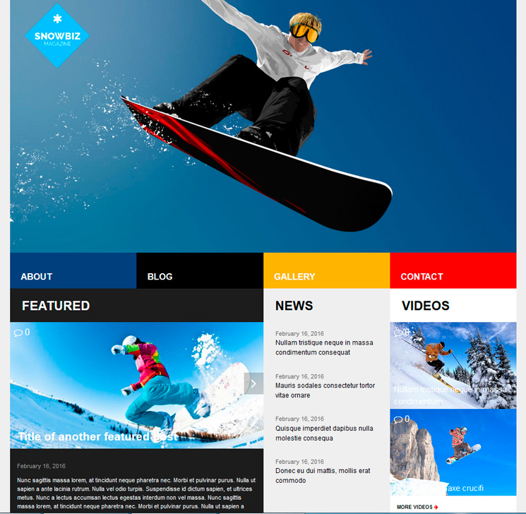 SnowBiz WordPress шаблон