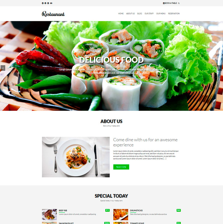 Restaurant WordPress шаблон