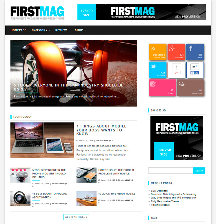 First Mag WordPress шаблон