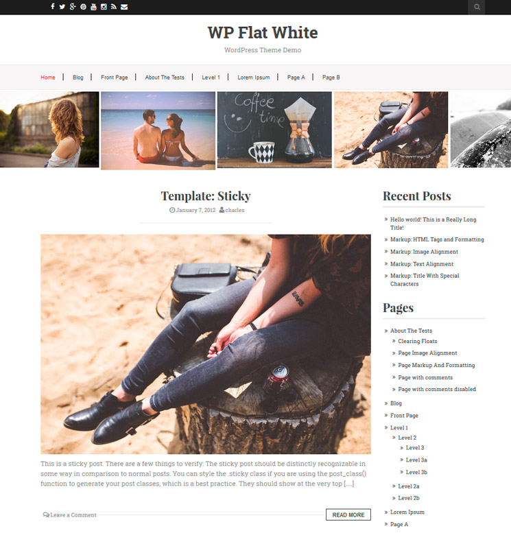 Flat White WordPress шаблон