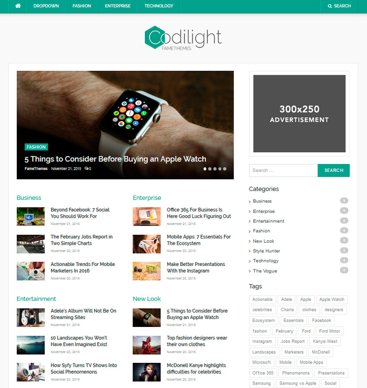 Codilight Lite WordPress шаблон