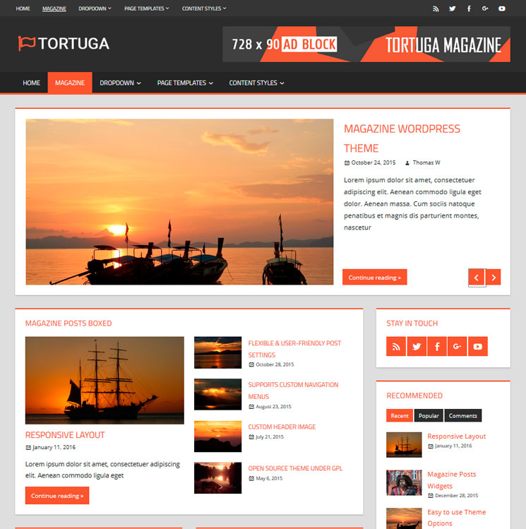 Tortuga WordPress шаблон