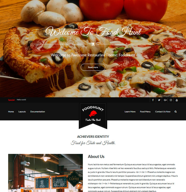 FoodHunt WordPress шаблон