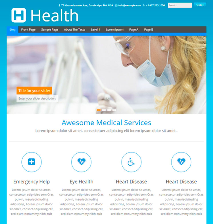 Health WordPress шаблон