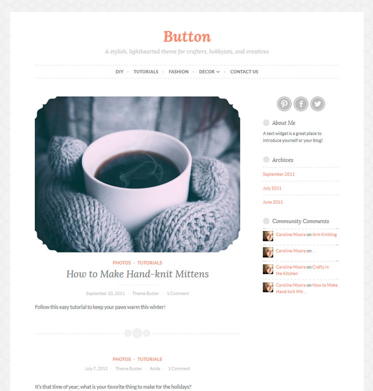 Button WordPress шаблон