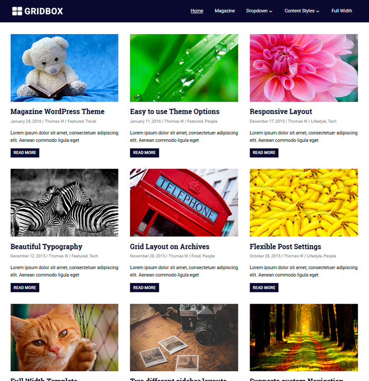 Gridbox WordPress шаблон