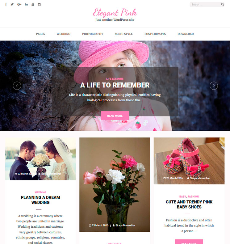 Elegant Pink WordPress шаблон
