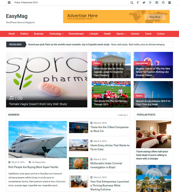 EasyMag WordPress шаблон