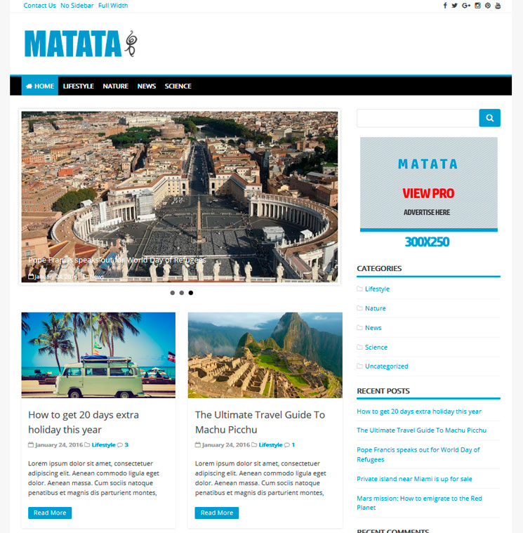Matata WordPress шаблон