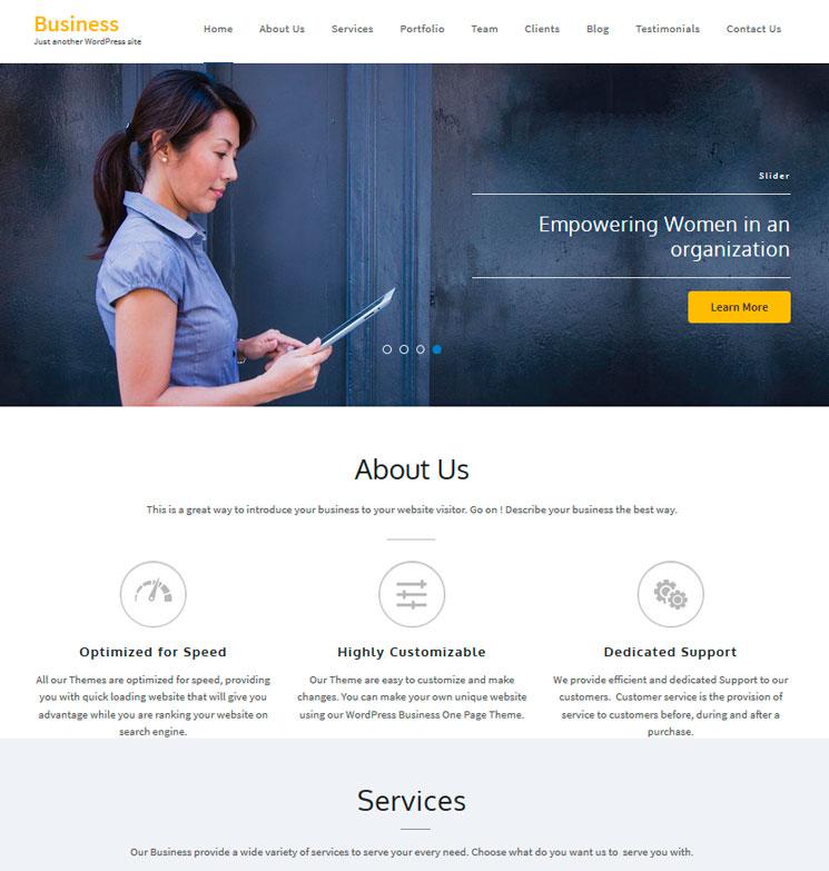 Business One Page WordPress шаблон