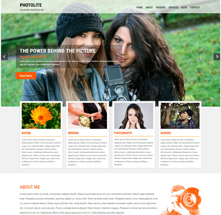 Photolite WordPress шаблон