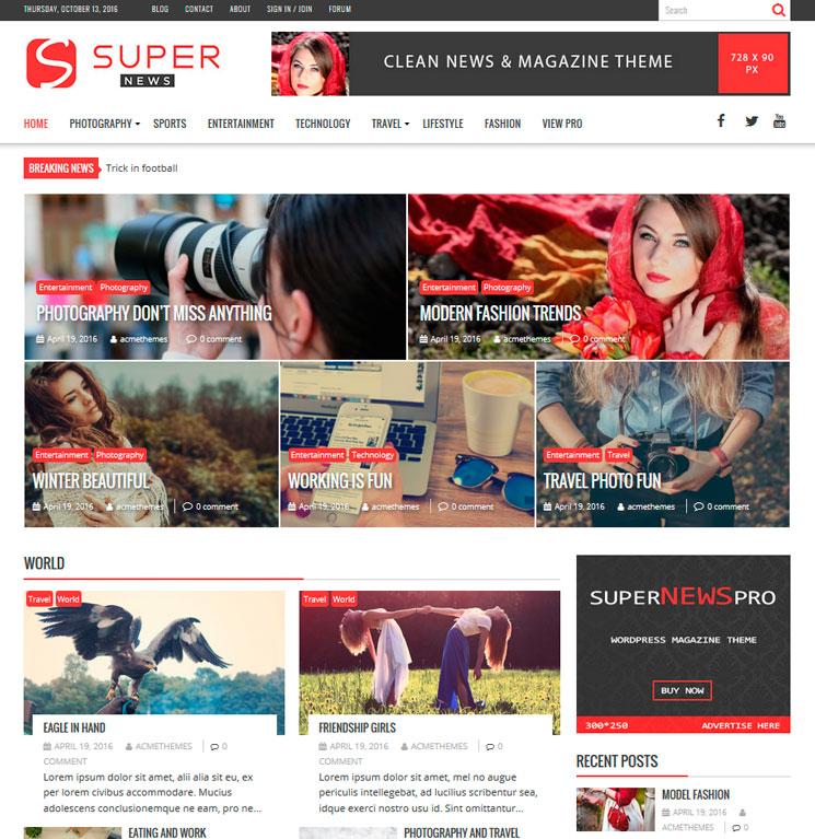 SuperNews WordPress шаблон
