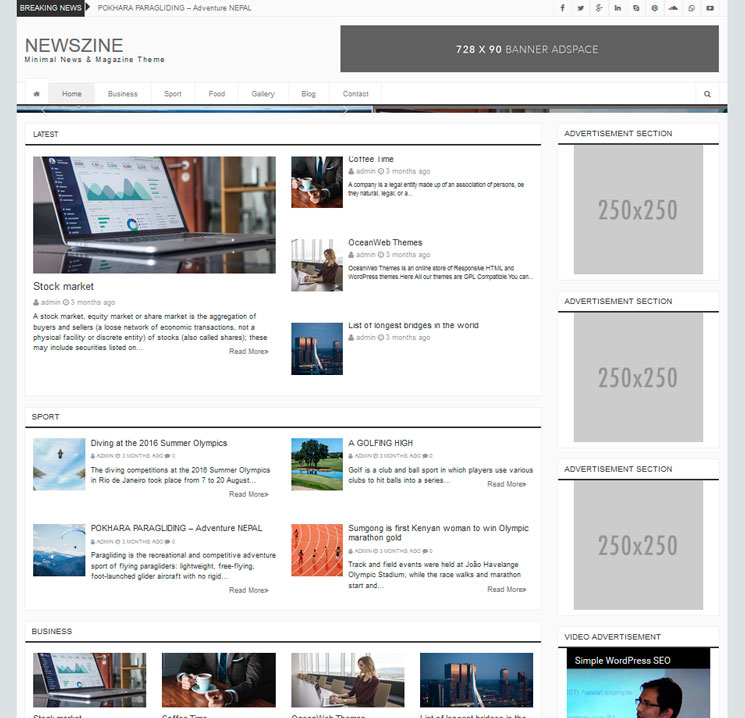 Newszine WordPress шаблон
