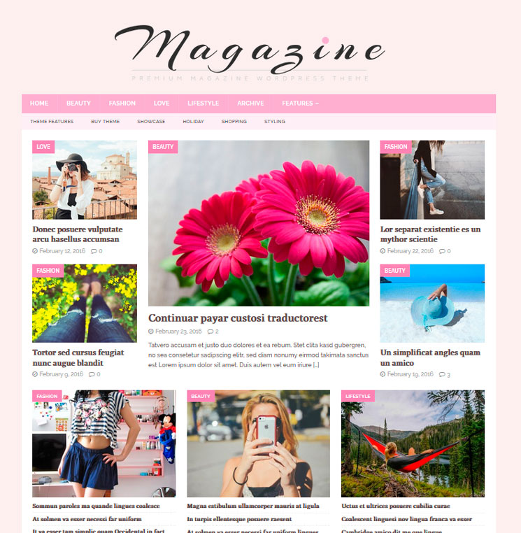 MH FeminineMag WordPress шаблон