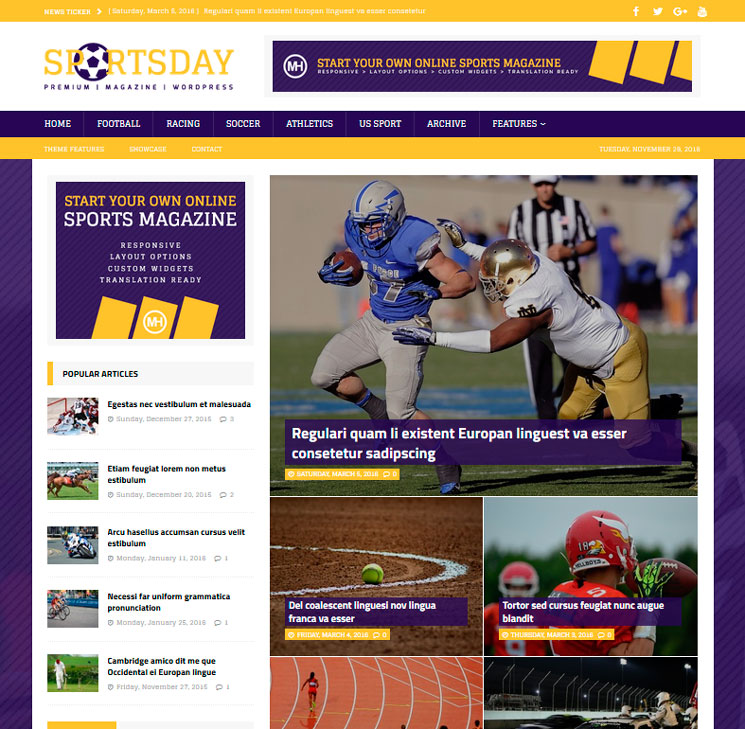 MH SportsMagazine WordPress шаблон