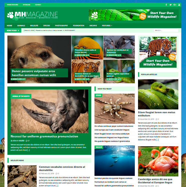 MH Biosphere WordPress шаблон