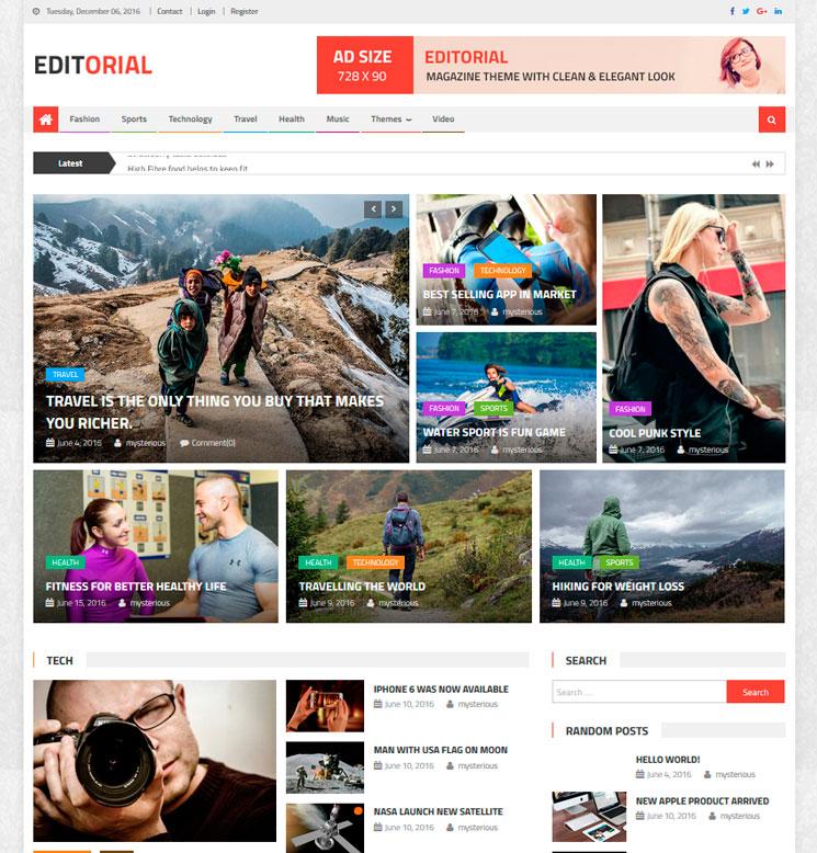 Editorial WordPress шаблон