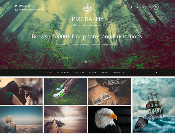 Pixgraphy WordPress шаблон
